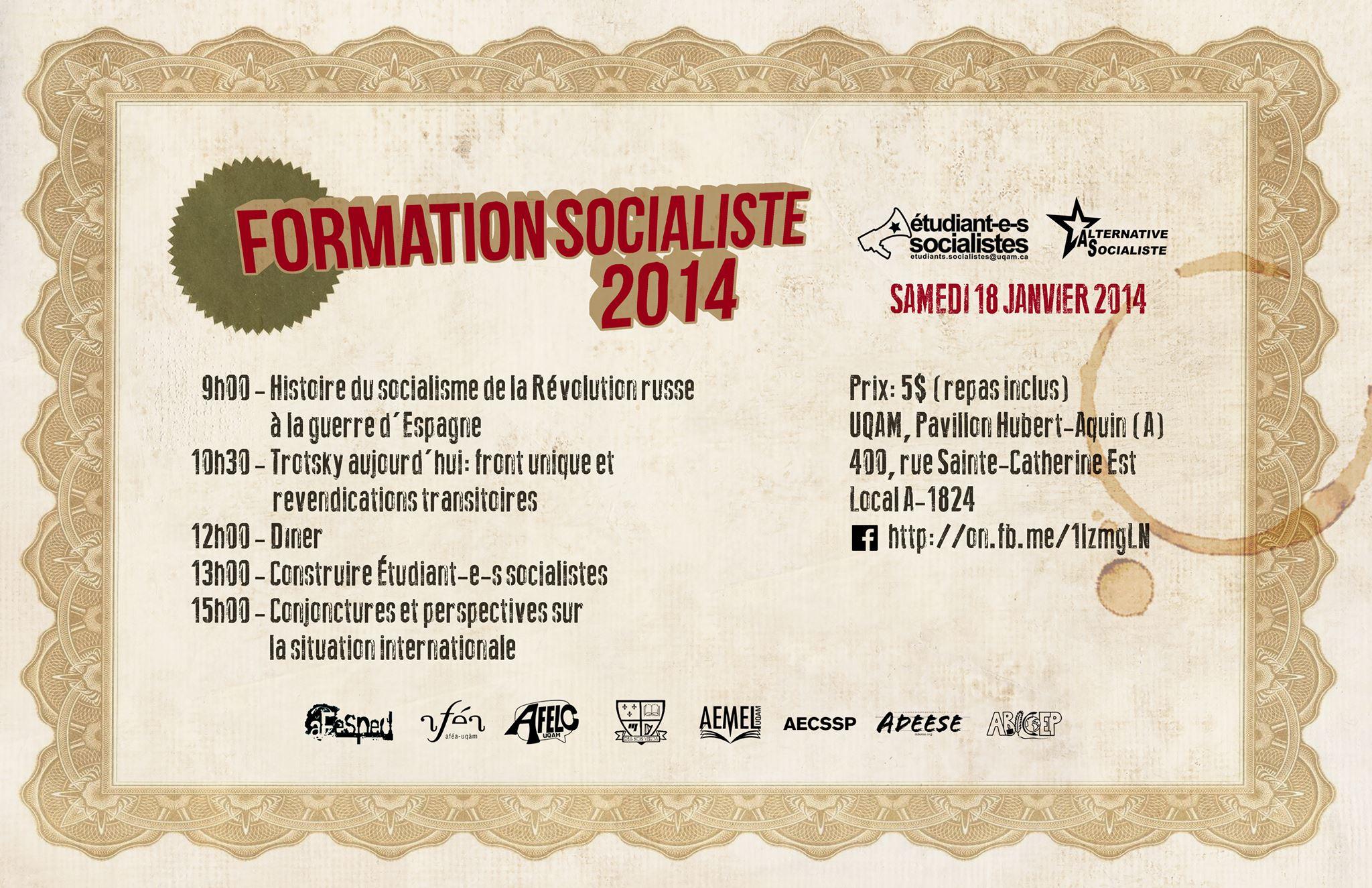 Affiche Formation socialiste 2014