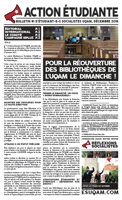 Action étudiante, bulletin #1